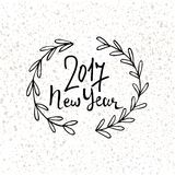 Happy New Year 2017 modern lettering design. New year greeting holiday card. Vector hand drawn festive text for banner Royalty Free Stock Photos