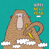 Happy New Year monkey with banana. Funny New Year illustration with monkey and banana Stock Photography