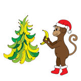 Happy New Year 2016, the monkey with bananas. Monkey in red hat and boots with bananas prepares to meet a happy new year 2016 Royalty Free Stock Images