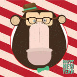Happy New Year with monkey in candy retro frame. Square congratulation Happy New Year with closeup monkey in candy retro frame Royalty Free Stock Image