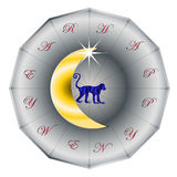Happy new year in monkey Chinese Zodiac sign on the Moon Royalty Free Stock Photos