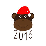 Happy New Year 2016 and monkey in Christmas hat greeting card Stock Photos