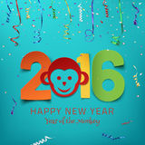 Happy New Year 2016. Year of the Monkey. Colorful paper type on background with monkey, ribbons and confetti. Greeting card template. Vector illustration royalty free illustration