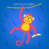 Happy New Year. Monkey year concept 2016 on blue background vector illustration