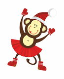 Happy New Year monkey. Dancing and smiling monkeys in a Santa hat and yellow skirt royalty free illustration