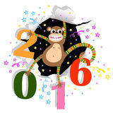 Happy New Year with monkey. Eps 10 stock illustration