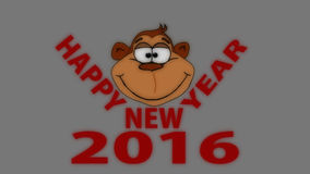Happy New Year. Monkey face and Happy New Year vector illustration