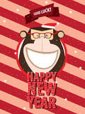 Happy New Year with monkey in festive frame. Greeting poster Happy New Year happy monkey in festive frame stock illustration