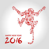 Happy new year, monkey with flower. Chinese style, vector illustration royalty free illustration