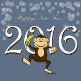 Happy New Year 2016 with monkey Royalty Free Stock Images