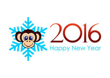 Happy New Year - 2016. Monkey head on the background of snowflakes and inscription happy New Year 2016 in vector, horizontal Stock Photos