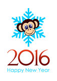Happy New Year - 2016. Monkey head on the background of snowflakes and inscription happy New Year 2016 in vector, vertical Royalty Free Stock Photo