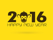 Happy new year, 2016, with monkey head. Vector illustration Stock Images