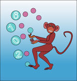 Happy New year of the monkey - juggling colored balls. Royalty Free Stock Images