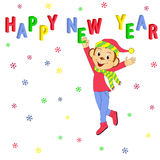 Happy New Year.monkey and letter. Illustration,vector stock illustration