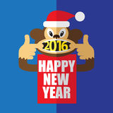 Happy New Year 2016. A monkey in red Santas hat  shows a numbers 2016 in its mouth and wishes happy new year Stock Images
