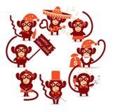 Happy new year monkey. Set of festive christmas monkey stock illustration
