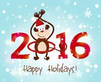Happy New Year 2016. Monkey tail twist around number 2016 vector illustration