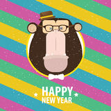 Happy New Year with monkey in varicolored frame. Square greeting card Happy New Year with hipster monkey in varicolored frame Stock Photo