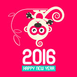 Happy New Year 2016 with Monkey Vector. Flat Design Illustration on Pink Background Royalty Free Stock Photo