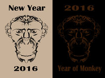 Happy New Year 2016 monkeys. Evil Monkey Happy New Year 2016 Royalty Free Stock Photo
