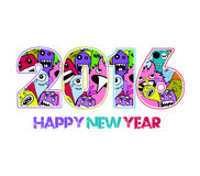 Happy new year 2016 monster doodle background.  Royalty Free Stock Images