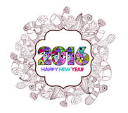 Happy new year 2016 monster doodle floral label background Stock Images