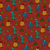 Happy new year monsters seamless pattern. For greeting cards vector illustration