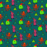 Happy new year monsters seamless pattern. For your goods Royalty Free Stock Photography
