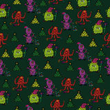 Happy new year monsters seamless pattern. For your goods stock illustration