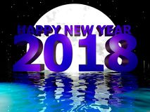 Happy New Year 2018 Moon Night Water Royalty Free Stock Images