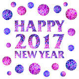 Happy new year 2017 mosaic text design with mosaic balls. Vector greeting illustration Royalty Free Stock Photography