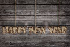 Happy New Year, Mulberry paper letter. And Old wood background stock illustration