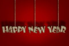 Happy New Year, Mulberry paper letter. And Red background stock illustration