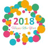 Happy New Year 2018 multicolor background for your greetings card illustration Stock Images