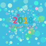 Happy New Year 2018 multicolor background for your greetings card illustration Stock Photos