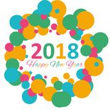 Happy New Year 2018 multicolor background for your greetings card illustration Stock Photo