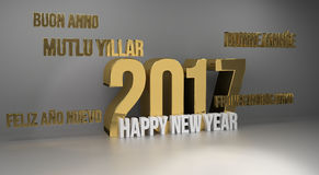 2017 happy new year multilingual 3d render. Design Stock Images
