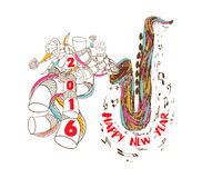 Happy new year 2016 musical with Jazz Saxophone doodle art.  Royalty Free Illustration