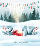 Happy New Year 2017 nature background with garlands Royalty Free Stock Photography
