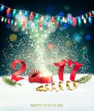 Happy New Year 2017 nature background with garlands. And a gift box. Vector Royalty Free Stock Photography