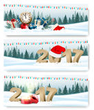 Happy New Year 2017 nature banners with garland and presents. Royalty Free Stock Photo