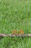 Happy New Year 2016, nature concept and wood number idea Royalty Free Stock Photos
