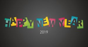 Happy New Year 2019 negative space colorful letters black landscape background. Happy New Year 2019 negative space colorful letters yellow red green blue black vector illustration