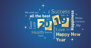 Happy New Year 2019 negative space word cloud text gold white blue vector greeting card stock illustration