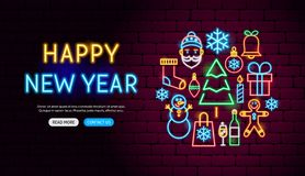 Happy New Year Neon Banner Design. Vector Illustration of Winter Holiday Promotion stock illustration
