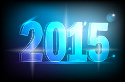 Happy new year 2015 neon. Blue  Lights Royalty Free Stock Images
