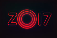 Happy New Year 2017. Neon glowing text, with original design. For your holiday cards and other projects. Vector illustration Royalty Free Stock Photo