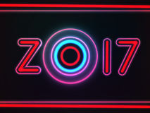 Happy New Year 2017. Neon glowing text, with original design. For your holiday cards and other projects. Vector illustration Royalty Free Stock Photos