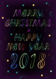 Happy New Year 2018. Neon inscription Stock Photography